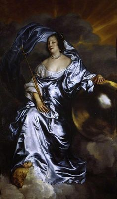ca. 1638 Rachel de Ruvigny, Countess of Southampton as Fortune by Sir Anthonis van Dyck (Fitzwilliam Museum - University of Cambridge, Cambridge UK)