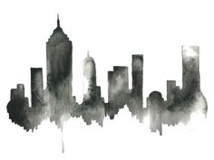 Black artwork of NYC New York City Skyline Print by KelseyMDesigns