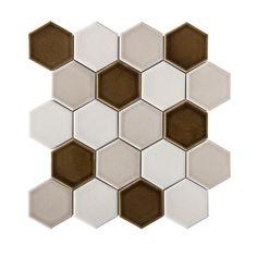 GBI Tile & Stone Inc. Redondo Wharf x Glazed Porcelain Hexagon Mosaic Wall Tile at Lowe's. A neutral hexagon mosaic adds texture to any room. Hexagon Wall Tiles, Pebble Mosaic Tile, Glass Brick, White Bathroom Tiles, Glazed Tiles, Honeycomb Pattern, Hexagon Shape, Color Tile, Mosaic Patterns