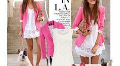 white dress & hot pink blazer - adorable