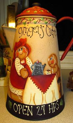 : Gingerbread Days by Joyce Carol Thomas Hardcover) Painted Milk Cans, Painted Pots, Painted Metal, Santa Crafts, Christmas Crafts, Christmas Decorations, Handpainted Christmas Ornaments, Teapot Cake, Dragonfly Art