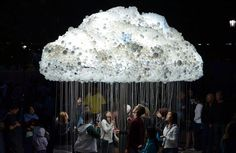-Cloud made from 6,000 light-bulbs by Caitlind Brown. 'Cloud' was part of the nuit blanche all-night contemporary arts festival in Calgary, Canada. 'Cloud', a life-sized interactive light installation, engages the public to participate by standing beneath the structure and pulling lights on and off, creating the flickering aesthetic of an electrical cloud.