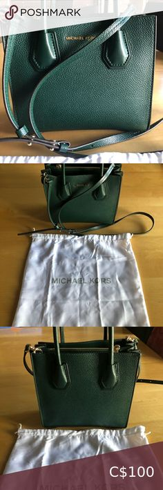 Authentic Michael Kors Mercer Tote Beautiful forest green crossbody with gold hardware detailing. Accordion folds which extend to give more space in the bag without losing its shape. In perfect condition, comes with original dust bag. Bags Crossbody Bags Brown Leather Crossbody Bag, Leather Clutch, Crossbody Bags, Ysl Tassel Bag, Vans Backpack, Marc Jacobs Purse, Adidas Bags, Ugg Bailey Button, Michael Kors Selma