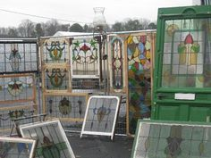 old stained glass windows at flea market