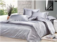 Luxury Silver Gray 4-Piece Silk Duvet Cover Sets $88.09