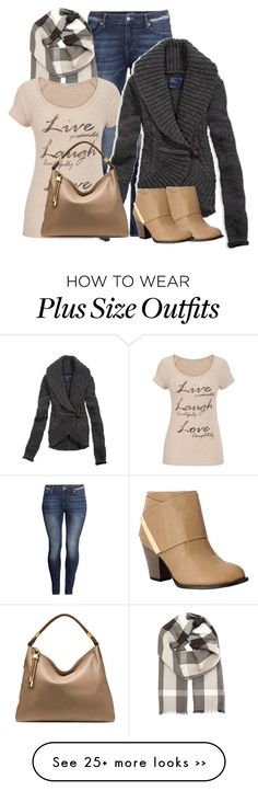 """Live, Laugh, Love - Plus Size"" by fatbottomedfashion on Polyvore featuring H&M, Burberry, maurices, American Eagle Outfitters, OLIVIA MILLER and Michael Kors"