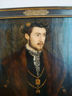 Albert V, Duke of Bavaria (1528-1579)  Your basic Counter-Reformation monarch. Fiercely enforced Catholic loyalty among his people; collected art and books by the ton; patronized so much art he put his court deep in debt; leveraged a lot of powerful positions for his family members. Fathered seven children. Hot.  (Portrait by Hans Mielich; Alte Pinakothek, München)
