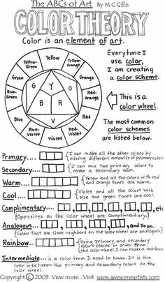 color theory worksheet - Popular Art Lesson Plans Pins on Pinterest