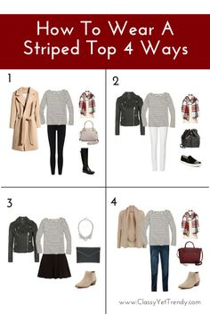 How To Wear A Striped Top 4 Ways...from casual to dressy! Shopping sources included.