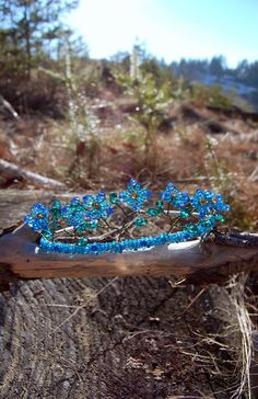 Forget-me-Not tiara, blue crystal beaded flowers