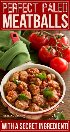 "Do you know the ""secret ingredient"" for making perfect Paleo Meatballs? Check out our no fail recipe for authentic tasting meatballs... without the grain!"