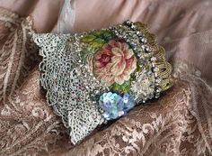 Heirloom rose 2 romantic shabby chic wrist cuff by FleursBoheme