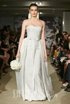 "Oozing chic! Carolina Herrera - Spring 2015. ""Catherine"" strapless floral jacquard strapless sheath wedding dress with matching overskirt, Carolina Herrera"