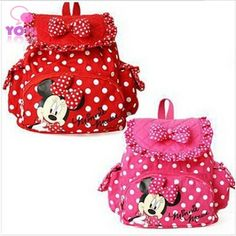 Niñas mochilas 2015 nueva moda tela algodón de los niños de dibujos animados para niños dot cremallera mochila bolsas W049