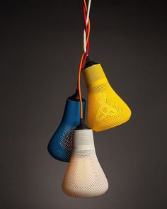 Kayan 3D Printed Lamp Shade || Plumen & Formaliz3d  This Italian company has made these lamps shades to fit around the Plumen bulbs. They have been 3D printed with soft curves to compliment the easy edges of the bulbs. The colour schemes have been chosen so well too, great work.  #design #productdesign #interior #interiordesign #creative #ideas #art #furniture #furnituredesign #modern #home #homedesign #customdesign #luxury #industrial #industrialdesign #decor #mydesign #love #fashion…