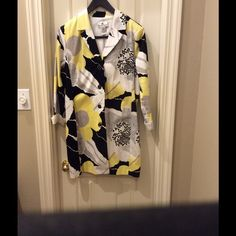 Festive spring & summer jacket Fun yellow, white, black and gray floral jacket! Gently worn, excellent condition, smoke free home! Russel Kemp Jackets & Coats