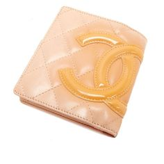19d25a9f318870 CHANEL Auth Cambon Line Coco Mark Wallet Beige Yellow Free Shipping Mint  #0683 #CHANEL