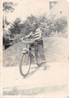 Photograph Snapshot Vintage Black and White Boy Bicycle Smile Yard 1950'S | eBay