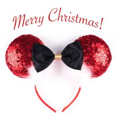 These Christmas Santa Claus ears are glistening with red sequins with an underlay of red satin, a black satin bow, and feather trim to create the perfect holiday ears. The back of the ears are the sam