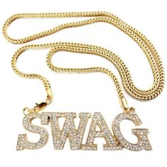 Gold Iced Out Swag Pendant with a 36 Inch Franco Chain Necklace ($25) found on Polyvore featuring jewelry, pendants, gold chain pendant, yellow gold jewelry, pendant jewelry, gold pendant and gold jewelry