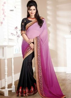 Captivating Black And Violet Designer Party Wear Saree http://www.angelnx.com/