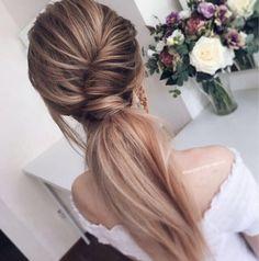 Стильная вечерняя причёска, объёмный хвост. Fashion ponytail. Hairstyle for a long blond hair
