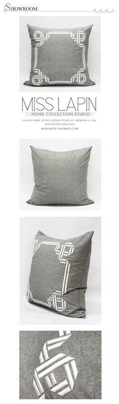 MISS LAPIN/法式/样板房/沙发床头/抱枕/灰色边框立体绣花方枕/布艺-淘宝网