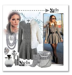 """""""SHEIN GREY LONG SLEEVE DRESS"""" by ane-twist ❤ liked on Polyvore featuring American Eagle Outfitters, Karen Kane, Nordstrom Rack, Topshop, Bobbi Brown Cosmetics, Boohoo and Steve Madden"""