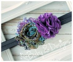 Peacock shabby and Purple Satin and Tulle Puff by babyzdesigns