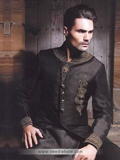 Traditional Raw Silk Wedding Sherwani, Embellished Collar, Neck, Chest and Sleeves, Black