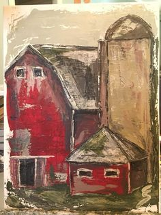 Barn and silo Old Barns, Country Barns, Paintings I Love, Canvas Paintings, Watercolor Paintings, Painting & Drawing, Barn Art, Diy Canvas Art, Pictures To Paint