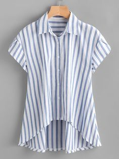 SheIn offers Contrast Striped Petal Sleeve Dip Hem Shirt & more to fit your fashionable needs. Sewing Clothes, Diy Clothes, Clothes For Women, Blue Fashion, Fashion Outfits, Fasion, Fashion Styles, Crop Top Und Shorts, Petal Sleeve