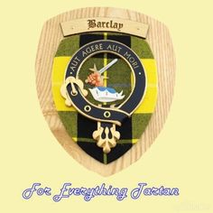 Clan Barclay Tartan Woodcarver Wooden Wall Plaque Barclay Crest 7 x 8