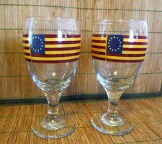 American Flag Iced Tea Glasses Set of 2  | Pottery & Glass, Glass, Glassware | eBay!