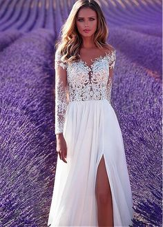 Buy discount Marvelous Tulle & Chiffon Sheer Jewel Neckline See-through Bodice A-Line Wedding Dress With Lace Appliques at Dressilyme.com