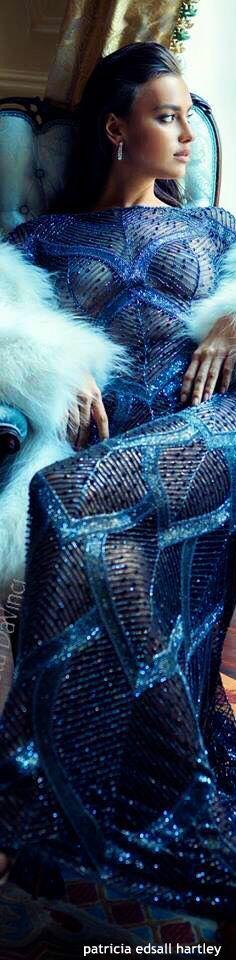 Irina Shayk for Davidson Zanine Irina Shayk, Fashion Moda, Blue Fashion, High Fashion, Moda Chic, Glamour, Color Azul, Sports Illustrated, Shades Of Blue