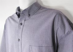 Eddie Bauer Short Sleeve Casual Plaid Shirt Button Down Collar  sz XL EUC #EddieBauer #ButtonFront