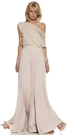 Fluid one-shoulder dress.