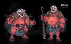 """""""""""Aka are towering red ogres of Jigoku Clan and the most ancient Oni family, famous for their phenomenal strength and passion for human flesh. Warriors, they were born of greed and hunger."""" Momo is the main enemy of Tetsuya in the first act of our story. Character Design Animation, Character Design References, Character Art, Japanese Mythical Creatures, Fantasy Creatures, Oni Art, Pen & Paper, Beast Creature, Dungeons And Dragons Homebrew"""