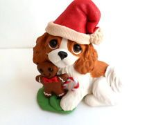Cavalier King Charles Christmas Polymer Clay DOG sculpture by Raquel Torres