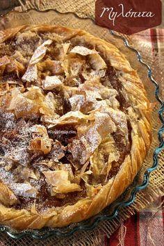 Μηλόπιτα τραγανή ⋆ Cook Eat Up! Greek Sweets, Greek Desserts, Apple Desserts, Greek Recipes, Apple Recipes, Cookbook Recipes, Sweets Recipes, Cooking Recipes, Greek Cookbook