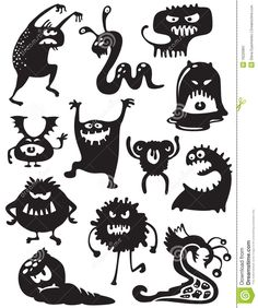 Illustration about Silhouettes of cute doodle monsters-bacteria. Illustration of character, animal, halloween - 16220891 Halloween Doodle, Halloween Crafts, Halloween Decorations, Doodle Monster, Halloween Illustration, Image Monster, Funny Monsters, Cartoon Monsters, Shadow Puppets