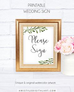 Greenery Wedding Guestbook Sign, with graceful watercolor leaves graphics in rustic and minimalist wedding sign.This delightful wedding welcome signage template is an instant download EDITABLE PDF so you can download it right away, DIY edit and print it at home or at your local copy shop by Amistyle Digital Art on Etsy