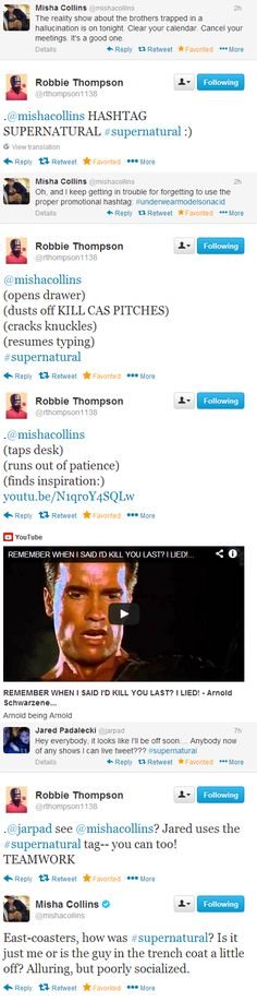 "Misha Collins, Robbie Thompson, and Jared Padalecki on Twitter during Supernatural 9x10 ""Road Trip"" [Lol and he did ultimately do it, after all this time xD ]"