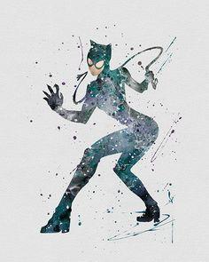 Catwoman Watercolor Art - VividEditions