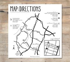 Custom Wedding Map Design and 50 Printed Map Cards : Any Event or Purpose, Any Location Worldwide. $140.00, via Etsy.