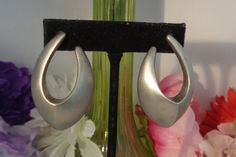 """Reduced - Vintage Givenchy Silvertone Large Matte Finish Teardrop Pierced Crescent Earrings that Measures 2"""" Long by CCCsVintageJewelry on Etsy"""