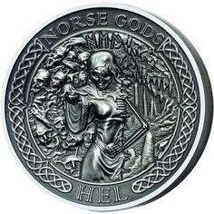 2015 2 oz New Zealand Silver Norse God Hel Proof Coins (Ultra High Relief) from JM Bullion™ Hobo Signs, Silver Investing, Poison Ring, Norse Tattoo, Hobo Nickel, Coin Art, Asatru, Challenge Coins, Proof Coins
