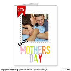 Happy Mothers day photo card colorful typography