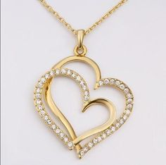 Gold plated rhinestone crystal double heart pendant necklace Women gift